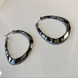 Zebra print hoop earring